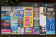 A detail of events, entertainment, attractions and an election poster for the local Polish community on a noticeboard, on 16th September 2019, in Zakopane, Malopolska, Poland.