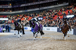 LANGEHANENBERG Helen (GER), Damsey FRH, WERTH Isabell (GER), Weihegold OLD, GRAVES Laura (USA), Verdades<br /> Göteborg - Gothenburg Horse Show 2019 <br /> FEI Dressage World Cup™ Final II<br /> Grand Prix Freestyle/Kür - Prix giving ceremony/Siegerehrung<br /> Longines FEI Jumping World Cup™ Final and FEI Dressage World Cup™ Final<br /> 06. April 2019<br /> © www.sportfotos-lafrentz.de/Stefan Lafrentz