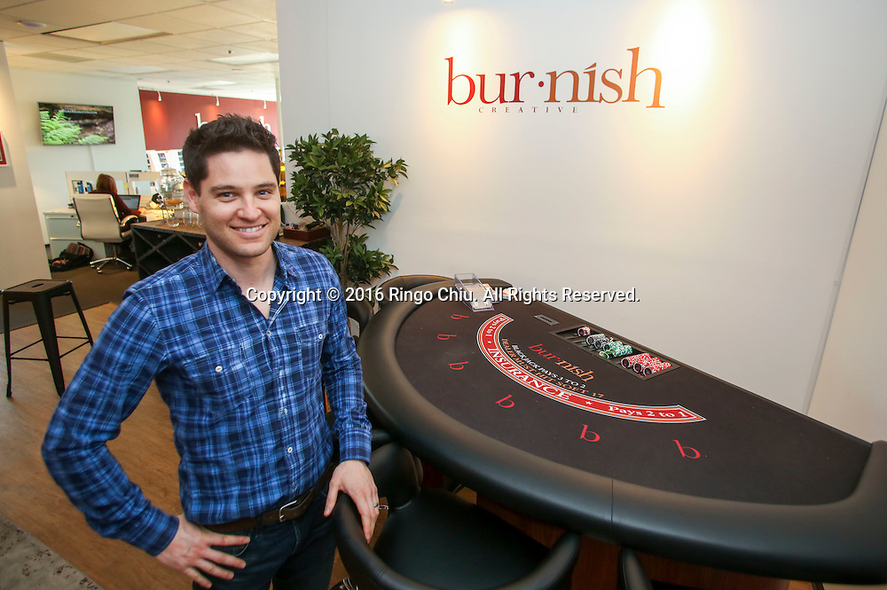 Oren Castro, co-founder of Burnish Creative at his firm&rsquo;s new office on the Miracle Mile.(Photo by Ringo Chiu/PHOTOFORMULA.com)<br /> <br /> Usage Notes: This content is intended for editorial use only. For other uses, additional clearances may be required.