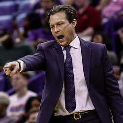 Feb 8, 2017; New Orleans, LA, USA; Utah Jazz head coach Quin Snyder against the New Orleans Pelicans during the second half of a game at the Smoothie King Center. The Jazz defeated the Pelicans 127-94.  Mandatory Credit: Derick E. Hingle-USA TODAY Sports
