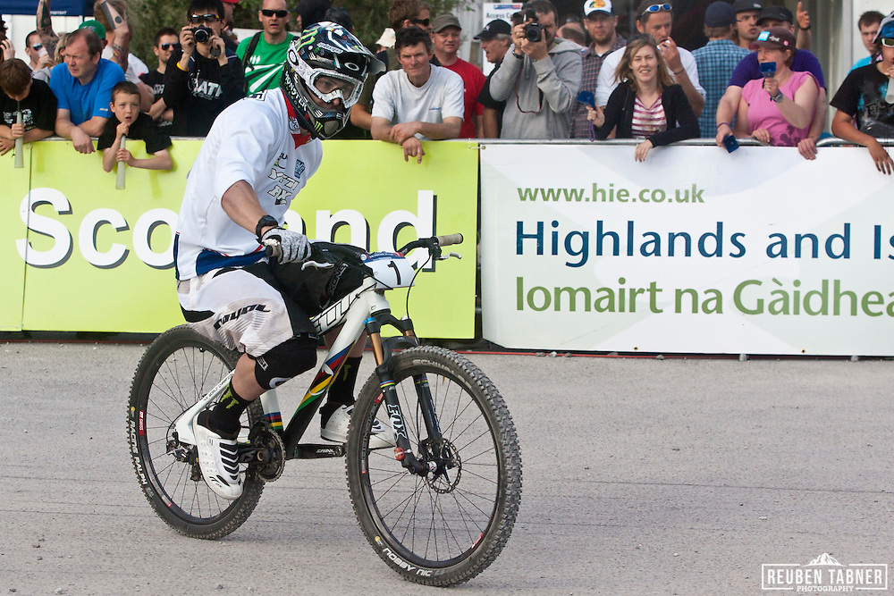 Jared Graves (AUS) of Yeti Fox Shox Factory Race Team takes first place  in the men's final of the Four Cross (4X) at the UCI Mountain Bike World Cup in Fort William, Scotland. UCI Mountain Bike World Cup in Fort William, Scotland.