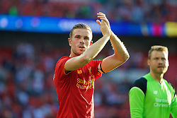 LONDON, ENGLAND - Saturday, August 6, 2016: Liverpool's captain Jordan Henderson after the 4-0 victory over Barcelona during the International Champions Cup match at Wembley Stadium. (Pic by Xiaoxuan Lin/Propaganda)