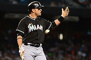 PHOENIX, AZ - JUNE 12:  Martin Prado #14 of the Miami Marlins reacts to a strike three call in the first inning against the Arizona Diamondbacks at Chase Field on June 12, 2016 in Phoenix, Arizona.  (Photo by Jennifer Stewart/Getty Images)