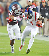 Mississippi Rebels wide receiver Laquon Treadwell (1) is tackled by Texas A&M Aggies defensive back Howard Matthews (31) in College Station, Texas on Saturday, October 11, 2014.