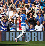 Tjaronn Chery (QPR midfielder) celebrating scoring the first goal during the Sky Bet Championship match between Queens Park Rangers and Rotherham United at the Loftus Road Stadium, London, England on 22 August 2015. Photo by Matthew Redman.
