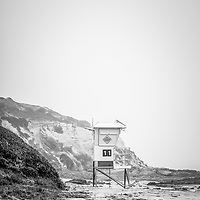 Laguna Beach Crystal Cove Lifeguard Tower #11 black and white picture. Crystal Cove State Park is along the Pacific Ocean in Orange County Southern California.