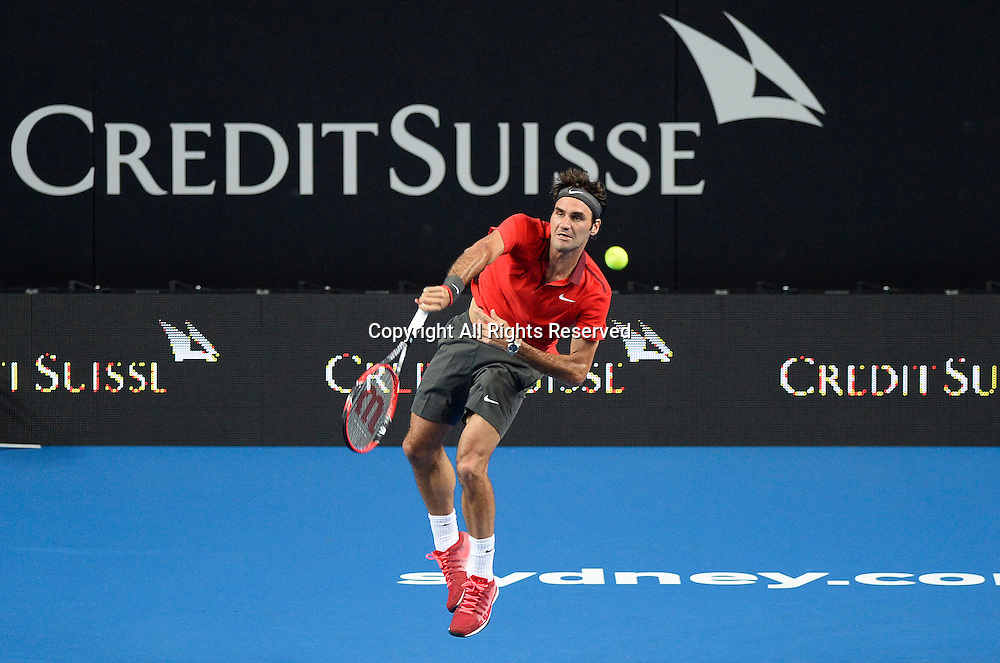 12.01.15 Sydney, Australia.  Roger Federer (SUI) in action against Lleyton Hewitt (AUS) during the FAST4 tennis exhibition match at the Qantas Credit Union Arena.