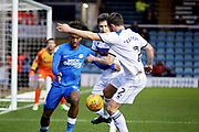 Peterborough Utd forward Ivan Toney (17) just beaten to the ball by Rochdale defender Joe Rafferty (2) during the EFL Sky Bet League 1 match between Peterborough United and Rochdale at London Road, Peterborough, England on 12 January 2019.
