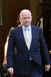 "© Licensed to London News Pictures. 29/08/2013. London, UK. William Hague, the Foreign Secretary leaves a meeting of the British cabinet on Downing Street in London today (29/08/2013) as a recalled British Parliament prepares to debate the possibility of ""direct"" military action over recent reports an alleged chemical weapons attack in Syria. Photo credit: Matt Cetti-Roberts/LNP"