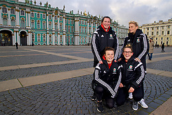 SAINT PETERSBURG, RUSSIA - Monday, October 23, 2017: Wales' [clockwise] Helen Ward, Jessica Fishlock, Rachel Rowe and Hayley Ladd pose for a portrait in Palace Square outside the Winter Palace ahead of the FIFA Women's World Cup 2019 Qualifying Group 1 match between Russia and Wales. (Pic by David Rawcliffe/Propaganda)