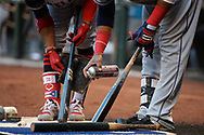 PHOENIX, AZ - APRIL 08:  Francisco Lindor #12 and Carlos Santana #41 of the Cleveland Indians prepare their bats for the the game against Arizona Diamondbacks at Chase Field on April 8, 2017 in Phoenix, Arizona.  (Photo by Jennifer Stewart/Getty Images)