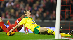 LIVERPOOL, ENGLAND - Saturday, January 19, 2013: Norwich City's Ryan Bennett looks dejected after scoring an own goal to hand Liverpool their fifth goal during the Premiership match at Anfield. (Pic by David Rawcliffe/Propaganda)