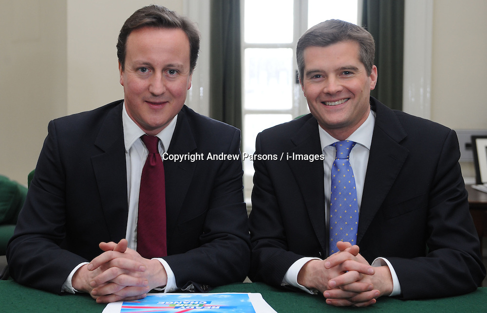 Leader of the Conservative Party David Cameron with Mark Harper, Member of Parliament for Forest of Dean in his office in Norman Shaw South, January 7, 2010. Photo By Andrew Parsons / i-Images.