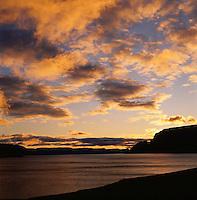 Sunset in Arnarfjörður, colorful clouds. Sólarlag í Arnarfirði, litrík ský.<br />