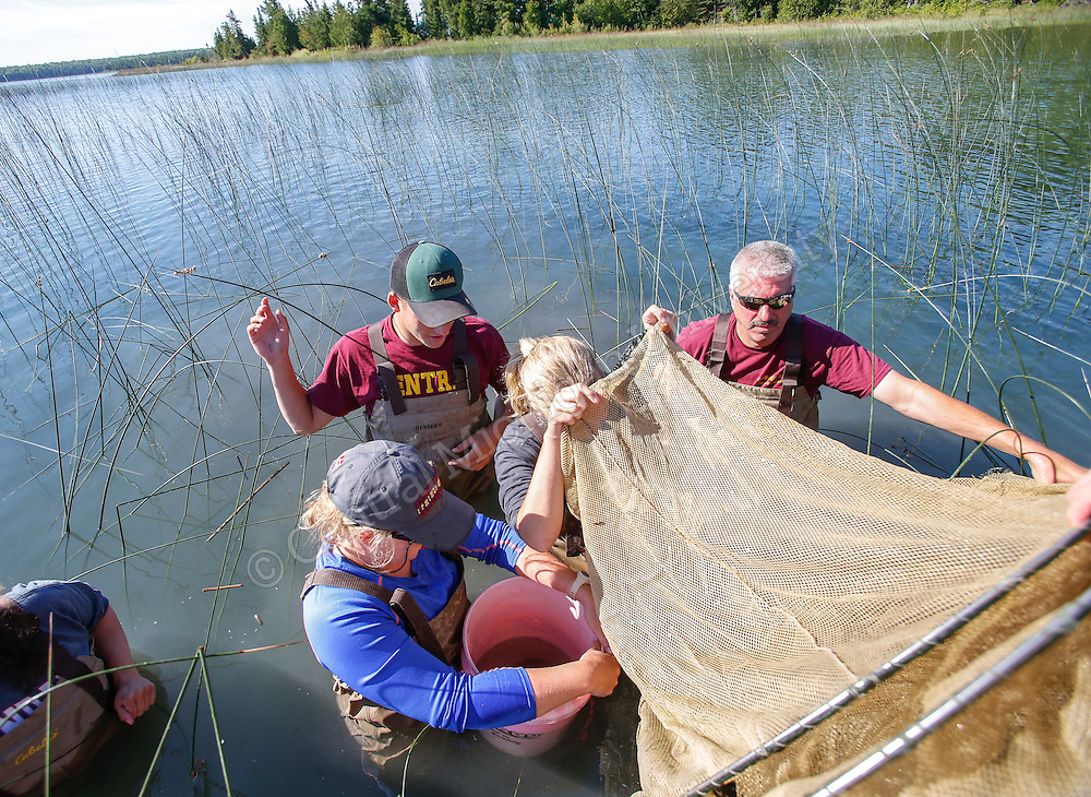 CMU students and Don Uzarski gather samples and do research off of Garden Island while staying at Beaver Island in the summer of 2015. Photo by Steve Jessmore/ Central Michigan University