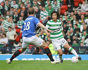Shunsuke Nakamura takes on Steven Whittaker during the League Cup final between Rangers and Celtic at Hampden Park -<br /> David Young