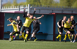 Edinburgh City's bench at the end. Edinburgh City became the first club to be promoted to Scottish League Two. East Stirling 0 v 1 Edinburgh City, League play-off game.