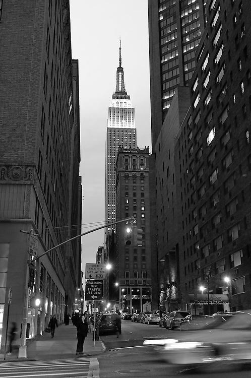 Empire State Building at night, Manhattan, New York, New York, USA