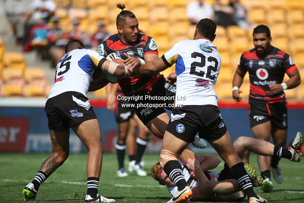 NZ Warriors player Nathan Peteru in action  during the NSW Cup Match  between the NZ Warriors and the Wentworthville Magpies played at Mt Smart Stadium in South Auckland on the 21st March 2015. <br /> <br /> Copyright Photo; Peter Meecham/ www.photosport.co.nz