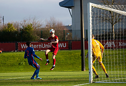 LIVERPOOL, ENGLAND - Monday, February 24, 2020: Liverpool's Tony Gallacher sees his header saved by Sunderland's goalkeeper Anthony Patterson during the Premier League Cup Group F match between Liverpool FC Under-23's and AFC Sunderland Under-23's at the Liverpool Academy. (Pic by David Rawcliffe/Propaganda)