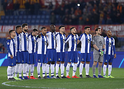 February 12, 2019 - Rome, Italy - Porto team during the minute of silence in memory of Emiliano Sala  prior to the UEFA Champions League round of 16, first leg football match AS Roma and FC Porto on February 12, 2019 at the Olympic stadium in Rome, Italy. (Credit Image: © Matteo Ciambelli/NurPhoto via ZUMA Press)