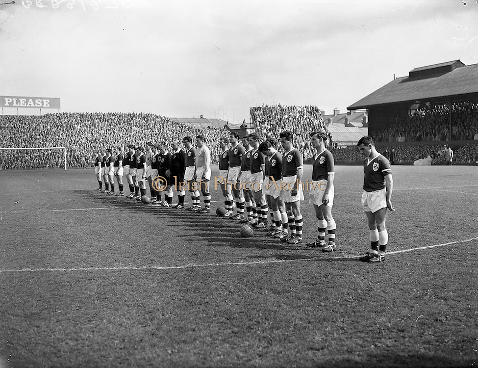 07/05/1961<br /> 05/07/1961<br /> 07 May 1961<br /> Soccer; World Cup Qualifier, Ireland v Scotland at Dalymount Park, Dublin. Scotland won the match 3-0.
