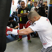 Three division world champion boxer Miguel Cotto holds media day at K.G. Boxing Gym in Orlando, Florida on Monday, Nov. 21, 2011. Cotto will be defending his World Boxing Association (WBA) super welterweight title against rival Antonio Margarito at Madison Square Garden in New York City, on December 3.  (AP Photo/Alex Menendez)
