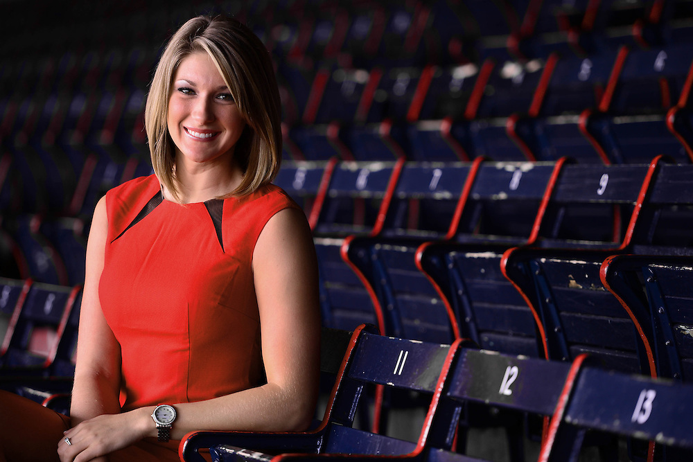 May 2, 2014, Boston, MA:<br /> Broadcaster Jeanna Radzinski poses for a professional portrait at Fenway Park in Boston, Massachusetts Friday, May 2, 2014.<br /> (Photo by Billie Weiss/Boston Red Sox)
