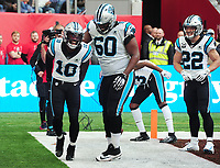 American Football - 2019 NFL Season (NFL International Series, London Games) - Tampa Bay Buccaneers vs. Carolina Panthers<br /> <br /> Curtis Samuel of the Panthers, celebrates his touch down withVita Vea and Christian McCaffrey (right) at Tottenham Hotspur Stadium.<br /> <br /> COLORSPORT/ANDREW COWIE