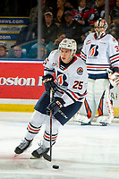 KELOWNA, BC - OCTOBER 12: Quinn Schmiemann #25 of the Kamloops Blazers skates against the Kelowna Rockets at Prospera Place on October 12, 2019 in Kelowna, Canada. Schmiemann was selected by the Tampa Bay Lightning in the 2019 NHL entry draft. (Photo by Marissa Baecker/Shoot the Breeze)