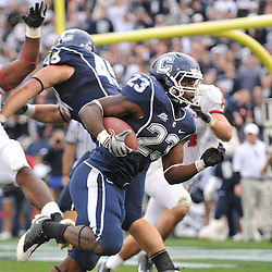 Oct 31, 2009; East Hartford, CT, USA; Connecticut running back Jordan Todman (23) scores a go-ahead touchdown with 38 seconds left during second half Big East NCAA football action in Rutgers' 28-24 victory over Connecticut at Rentschler Field.