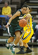 January 27 2010: Michigan St. guard Brittney Thomas (20) eyes a lose ball as she gets by Iowa guard Trisha Nesbitt (11) during the second half of an NCAA women's college basketball game at Carver-Hawkeye Arena in Iowa City, Iowa on January 27, 2010. Iowa defeated Michigan State 66-64.