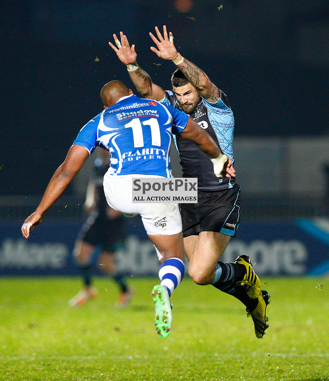 GUINESS PRO 12 - Glasgow Warriors v Dragons....Rory Hughes and Aled Brew leap for a high ball...(c) STEPHEN LAWSON | SportPix.org.uk