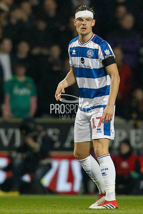 Queens Park Rangers forward Matt Smith (17) sporting a head bandage during The FA Cup 5th round match between Queens Park Rangers and Watford at the Loftus Road Stadium, London, England on 15 February 2019.