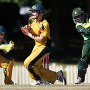 Lauren Ebsary takes evasive action while fielding during the match between Australia and Pakistan in the Super 6 stage of the ICC Women's World Cup Cricket tournament at Bankstown Oval, Sydney, Australia on March 16 2009, Australia won the match by 107 runs. Photo Tim Clayton