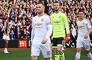 Wayne Rooney leads out his team mates ahead the Barclays Premier League match between Crystal Palace and Manchester United at Selhurst Park, London, England on 31 October 2015. Photo by Michael Hulf.