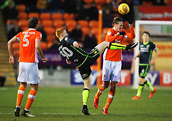 Rory Gaffney of Bristol Rovers with a high foot on Sean Longstaff of Blackpool - Mandatory by-line: Matt McNulty/JMP - 13/01/2018 - FOOTBALL - Bloomfield Road - Blackpool, England - Blackpool v Bristol Rovers - Sky Bet League One