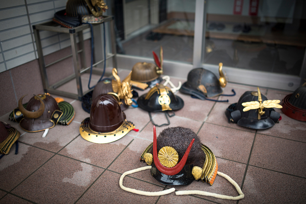 """MINAMISOMA, JAPAN - JULY 24 :  A samurai headgear is seen during a ritual ceremony in the """"Hon Matsuri"""", Soma Nomaoi festival at Minamisoma city on Sunday, July 24, 2016 in Fukushima Prefecture, Japan. """"Soma-Nomaoi"""" is a three day traditional festival that recreates a samurai battle scene from more than 1,000 years ago. The festival has gathered more than thousands visitors as Fukushima still continues to recovery from the 2011 nuclear disaster, the samurai warriors battles for recovery of the area. (Photo: Richard Atrero de Guzman/NURPhoto)"""