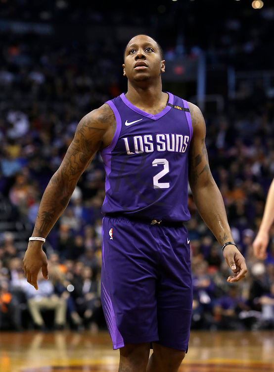 Phoenix Suns guard Isaiah Canaan (2) in the first half during an NBA basketball game against the New York Knicks, Friday, Jan. 26, 2018, in Phoenix. (AP Photo/Rick Scuteri)