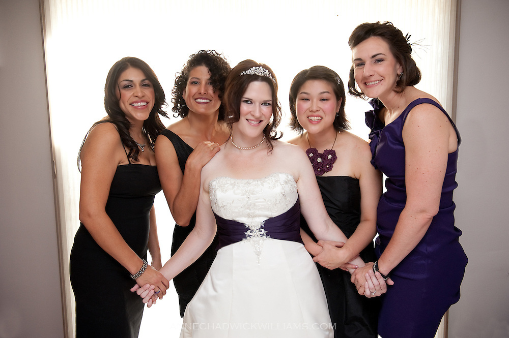 A Sacramento bride with her bridesmaids before her wedding.