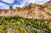 View of the Crooked River and Monument Wall from North Point in Smith Rock State Park, Oregon.