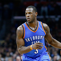 21 December 2015: Oklahoma City Thunder guard Dion Waiters (3) dribbles during the Oklahoma City Thunder 100-99 victory over the Los Angeles Clippers, at the Staples Center, Los Angeles, California, USA.