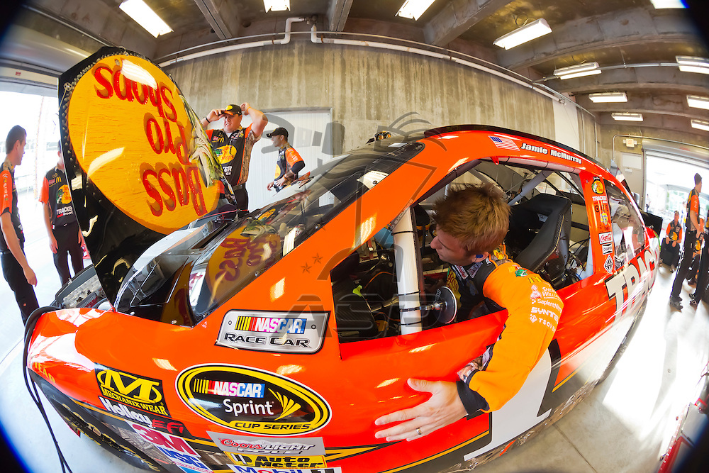 INDIANPOLIS, IN - JUL 28, 2012:  Jamie McMurray (1) and crew prepare their car for a practice session for the Curtiss Shaver 400 presented by Crown Royal at the Indianapolis Motor Speedway in Indianapolis, IN.
