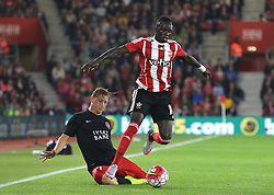 Sadio Mane of Southampton avoids a challenge from Daniel Royer of FC Midtjylland - Mandatory byline: Paul Terry/JMP - 07966386802 - 20/08/2015 - FOOTBALL - ST Marys Stadium -Southampton,England - Southampton v FC Midtjylland - EUROPA League Play-Off Round