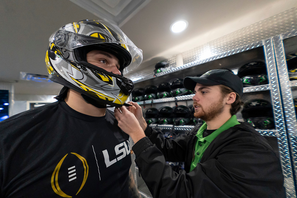 Members of the LSU Tigers play games and ride go-carts at Andretti Indoor Karting & Games on Tuesday, Dec. 24, in Marietta, Ga. LSU will face Oklahoma in the 2019 College Football Playoff Semifinal at the Chick-fil-A Peach Bowl. (Paul Abell via Abell Images for the Chick-fil-A Peach Bowl)