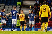 Scotland's Stephen O'Donnell (Kilmarnock) receives a caution for simulation during the UEFA European 2020 Qualifier match between Scotland and Belgium at Hampden Park, Glasgow, United Kingdom on 9 September 2019.