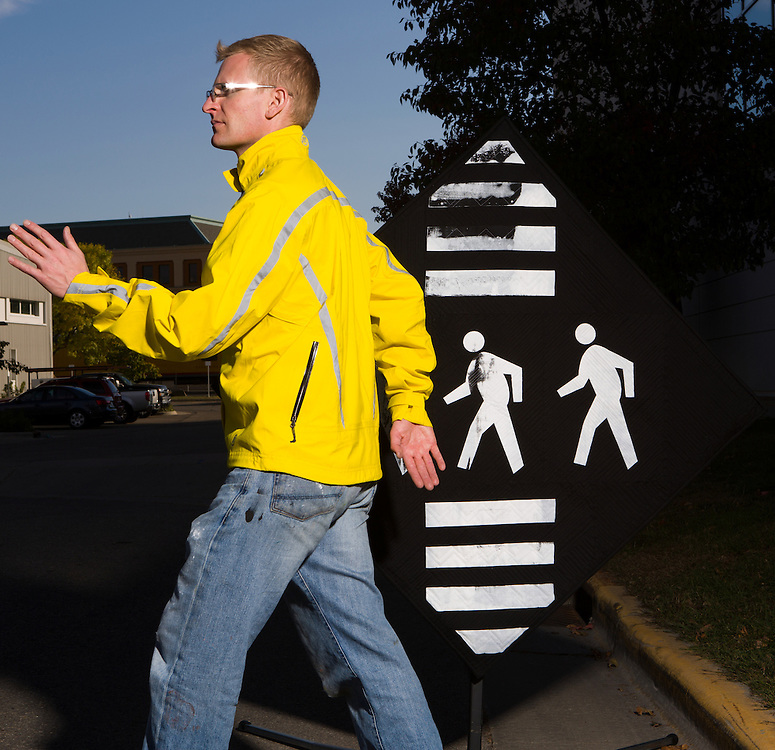 Street installation of pedestrian sign designed by Steven Driscoll Hixson