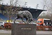 Exterior shot of the Bull statue and the Kassam stadium during the EFL Sky Bet League 1 match between Oxford United and Walsall at the Kassam Stadium, Oxford, England on 31 December 2016. Photo by Dennis Goodwin.