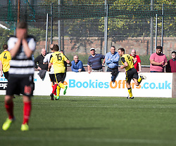 Edinburgh City's Douglas Gair cele scoring their goal. Edinburgh City became the first club to be promoted to Scottish League Two. East Stirling 0 v 1 Edinburgh City, League play-off game.