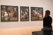 UNITED KINGDOM, London: 26 February 2018 <br /> A visitor takes a look at Paula Rego's &quot;The Betrothal: Lessons: The Shipwreck, after 'Marriage a la Mode' by Hogarth&quot; at The Tate Britain this morning. The three paintings form part of Tate Britain's landmark exhibition entitled 'All Too Human: Bacon, Freud and a Century of Painting Life' which celebrates the intense experience of life captured with paint. <br /> The exhibition runs from 28 February - 27 August 2018.<br /> Photograph: Rick Findler